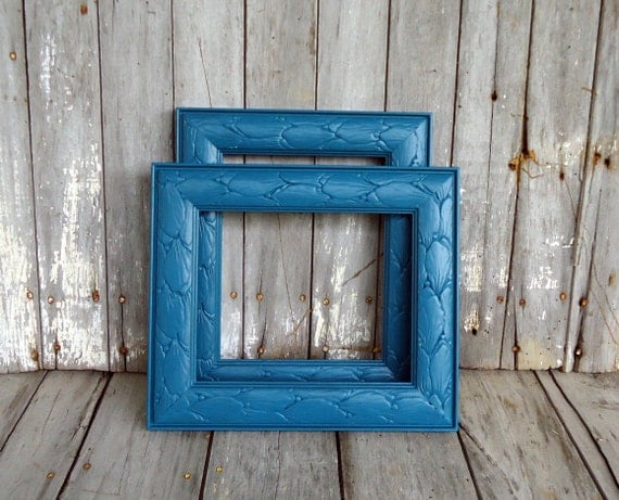 Ornate Blue Frame Wood Wooden Picture Ornate Wall Teal Peacock Eclectic Decor Upcycled Pair Vintage Painted Bohemian