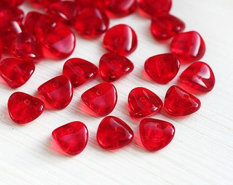 Red Czech glass spacer beads, Red glass beads, wavy rondels, rondelle - 4x9mm - 25Pc - 1936