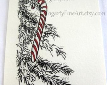 Christmas ACEO - Limited Ed., Black White Christmas Tree with Red & White Candy Cane - Fine Art Print with Handpainting - Miniature Artwork