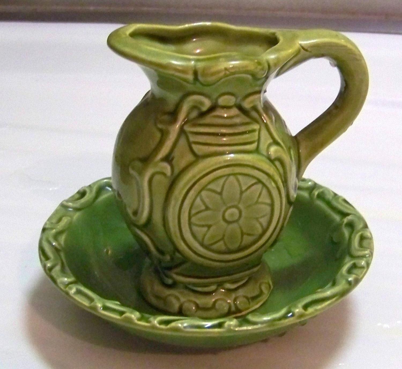 vintage 1970 39 s ceramic pitcher and bowl set in by paintedonplaques. Black Bedroom Furniture Sets. Home Design Ideas