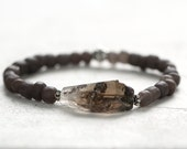 Smoky Quartz Crystal Bracelet - Raw Crystal Bracelet in Dark Brown