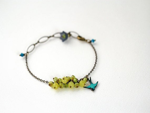 Bird Charm Bracelet. Gemstone Beaded Bracelet with Yellow Jade and Chalcedony in Chartreuse - LAST ONE