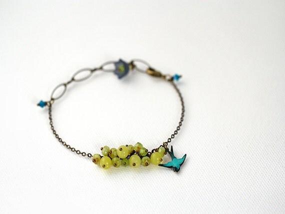 Bird Charm Bracelet. Gemstone Beaded Bracelet with Yellow Jade and Chalcedony in Chartreuse - LAST ONE