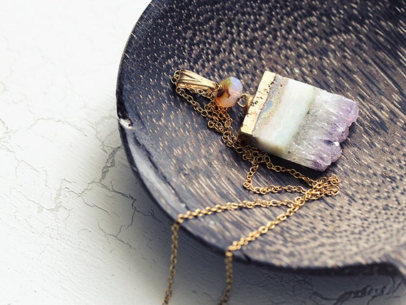 Amethyst Druzy Necklace.  Handmade Jewellery. 14k gold chain necklace