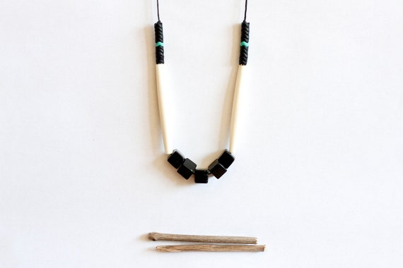 RESTOCK geometric, tribal, black stone cube beads, long white bone beads, czech beads and black rope, long, beaded necklace