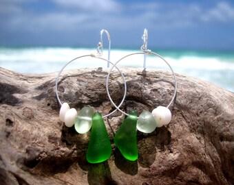 Hawaiian Emerald Green & Light Aqua Beach Glass with Authentic Puka Shells on 925 Sterling Silver Circular Wire Small Hoop Earrings