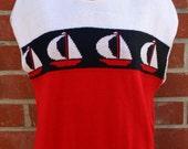 1980s Vintage Medium Large Nautical Sweater Top