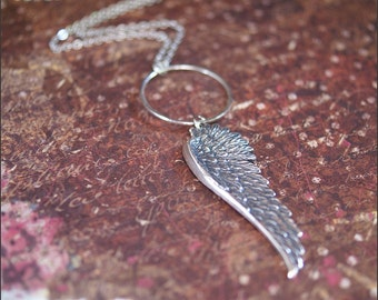 Silver Wing Necklace Accented with Delicate Circle 'Halo' -DETAILED ANGEL Wing Pendant- Prettiest Gift by RevelleRoseJewelry