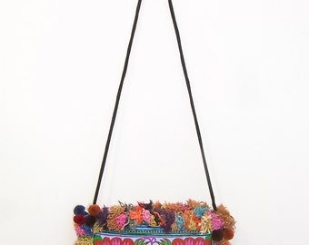 Handmade Tote Bag Blue Flowers and Mixed colors hair around Purse Cross-Over Bag  (BG811H-BF2)