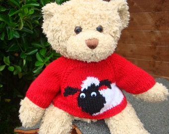 Teddy Bear Sweater - Hand knitted - Red with Sheep Motif - fits Build a Bear