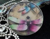 Dancing Dragonflies Circle Pendant with Chain