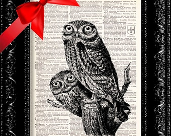 Owl Peep Party -  Vintage Dictionary Print Vintage Book Print Page Art Upcycled Vintage Book Art