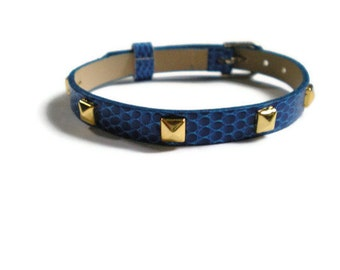 Royal Blue and Gold Studded Bracelet - Layering bracelet - Girlfriend Bracelet - Belt Buckle Bracelet