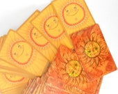 Complete Set of Bright Orange Sun Picture Playing Cards