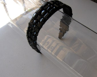 Black Crystal Stone Applique Headband, for weddings, parties, evening, special occasions