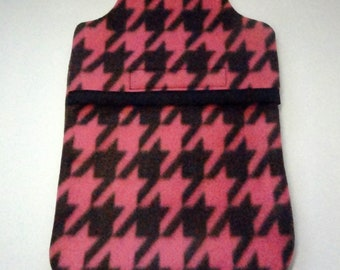 Hot Water Bottle Cover Pnk and Black Check Fleece