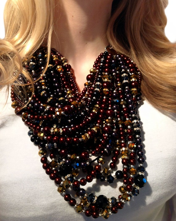 SUPER STATEMENT Necklace, Brown, Black, Gold, Sparkle, Bold, Crystal, Multi-strand, Statement, Pearls, Jewelry by Jessica Theresa
