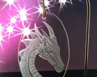 Dragon Christmas Ornament   hand engraved glass  dragon ornament christmas ornaments tree ornament