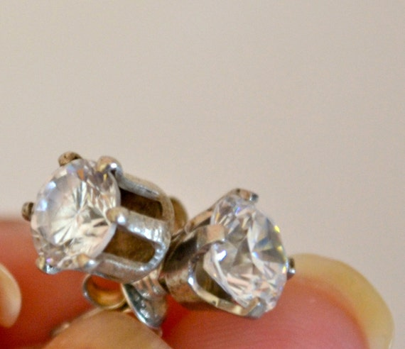Clear CZ Stud Earrings, Round, Silver, Stamped, Fine Jewelry, Estate Sale, Item No. S184