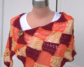Autumn  Lace Entrelac Shawl Red Orange and Yellow Wrap Lacy Scarf Hand Knit