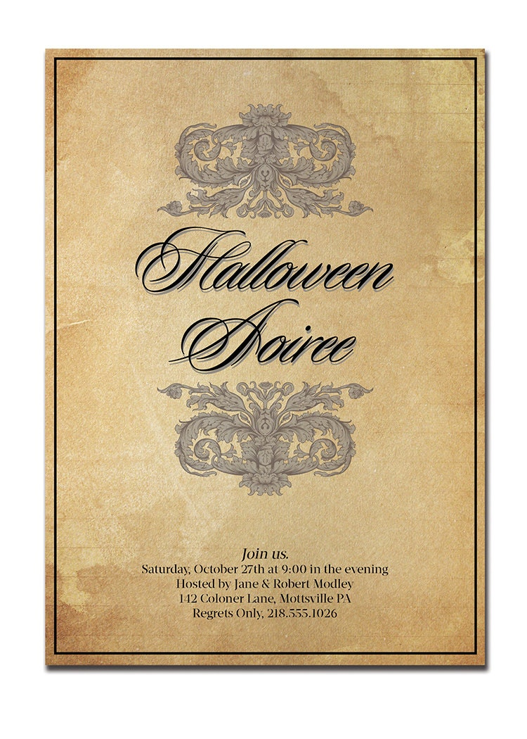 Vintage halloween invitation classic elegant halloween party for Vintage halloween party invitations