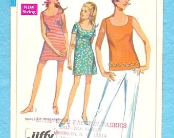 Vintage 1960s Simplicity 7702 Mini Dress, Top Pants & Shorts Size 11 Junior Petite
