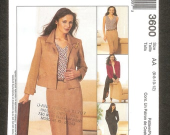 McCall's 3600 Jacket Top Skirt and Pants Sizes 6, 8, 10, 12 UNCUT
