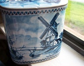 """Vintage 60's """"JUSTINE"""" Dutch Scene Tin Can Container Made in West Germany"""
