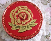 Vintage 60's Embossed Red Hot & Gold Rose Tin Can