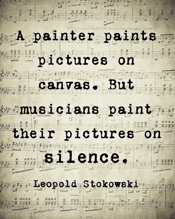 Music Quote Musical Notes Vintage Style Music Lover Leopold Stokowski Sepia Natural For the Musician Wall Art Home Decor Word Art Print