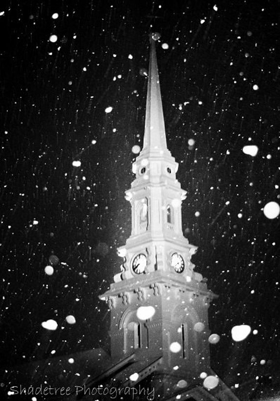 Church Steeple North Church Black and White Snowy Snow White Historical Portsmouth NH,  Fine Art Print