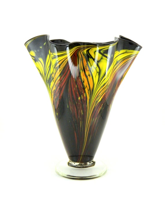 Hand Blown Art Glass Vase - Red, Orange, and Yellow Flames on Black - Freeform