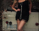 custom black flapper dress made from upcycled t-shirts