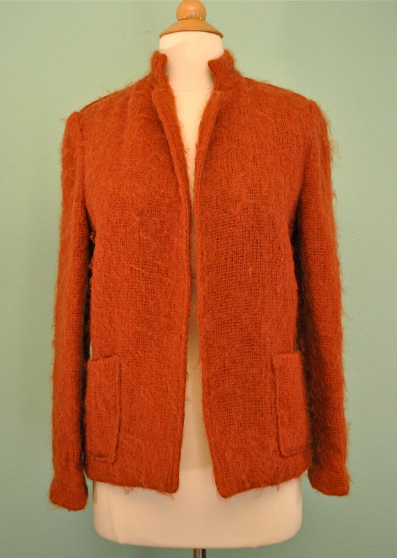 Vintage Orange Jacket Carpet Sweater - 1960s Mod Cardigan