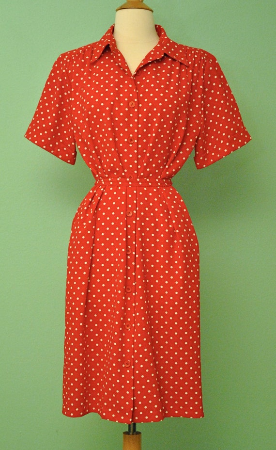 Polka Dot Dress Red and White with Tie Waist - 80s Does 50s 40s VLV Rockabilly 1940s Pinup Button Up Dress