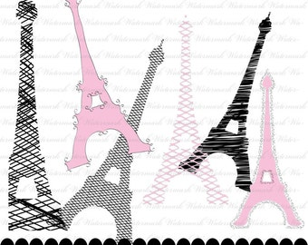 Eiffel clip art, Paris clipart, France clipart, Paris scrapbooking : c0276 3s3749 pink black