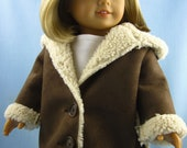 American Girl Doll Clothes  - Hooded Jacket in Brown Sherpa Suede