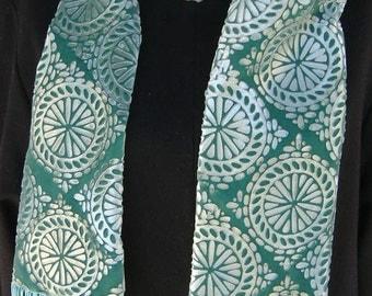 Velvet Scarf Turquoise Aquamarine  Custom Embossing