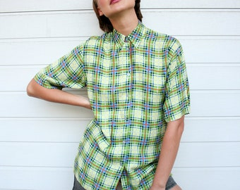 Vintage Green Plaid Shirt Blouse