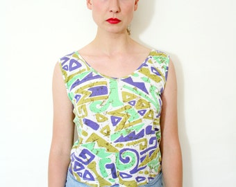 Vintage Abstract Print Basic Cotton Sleeveless Boxy Top