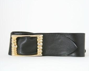 Giani Bernini - Black Leather Belt with Gold Buckle - Size Small