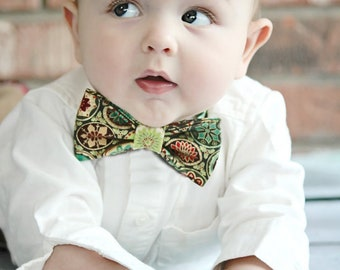 Sinclair- Forest Green, Red, Burgundy, Lime green, Metallic Gold and Teal Colored Adjustable Bow Tie