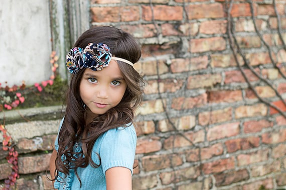 Hannah- Bohemian Ruffle Fabric Flowers Headband
