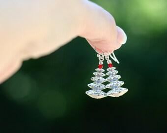Swarovski Crystal Christmas Tree Earrings - Holiday Earrings - Christmas Earrings - Sparkly Crystal Earrings - Holiday Gift Earrings