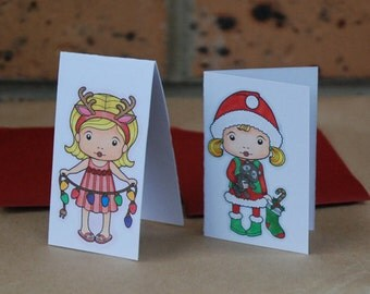 Small Christmas Cards Santa Marci Sunny Christmas Marci Handmade Hand Coloured