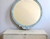 Beautiful Round Distressed Antique Mirror