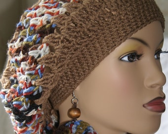 Crochet Tam Crochet Hat Slouchy with Matching Earrings-Mocha 2  Made To Order