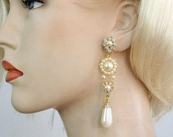 EXQUISITE Chandelier Earrings,Bridal Earrings,Wedding Earrings,Clip On Earrings,Drop Pearls Earrings,Crystal,Victorian Style Jewelry