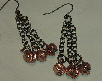 Serenity Earrings, Oxidized Solid Brass Chains And Earwires, Raw Copper Jingles, Great Gift