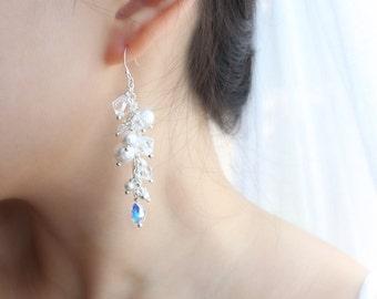 Swarovski Crystal & Pearl Earrings, Bridal Earrings, Wedding Jewelry